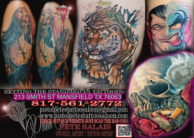 Pistol pete 39 s tattoo body piercing shop arlington tx for Fort worth texas tattoo shops