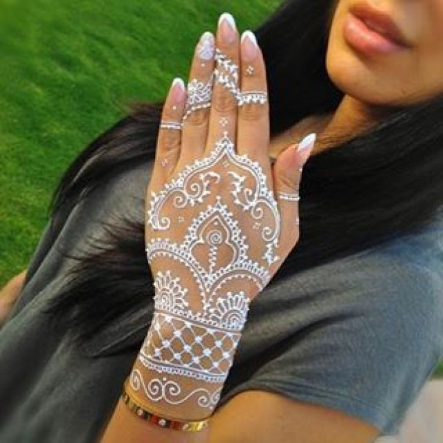 White Henna Designs at Pistol Petes tattoo Saloon