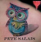 #pistolpetestattoosaloon #owltattoo #tattoobypetesalais